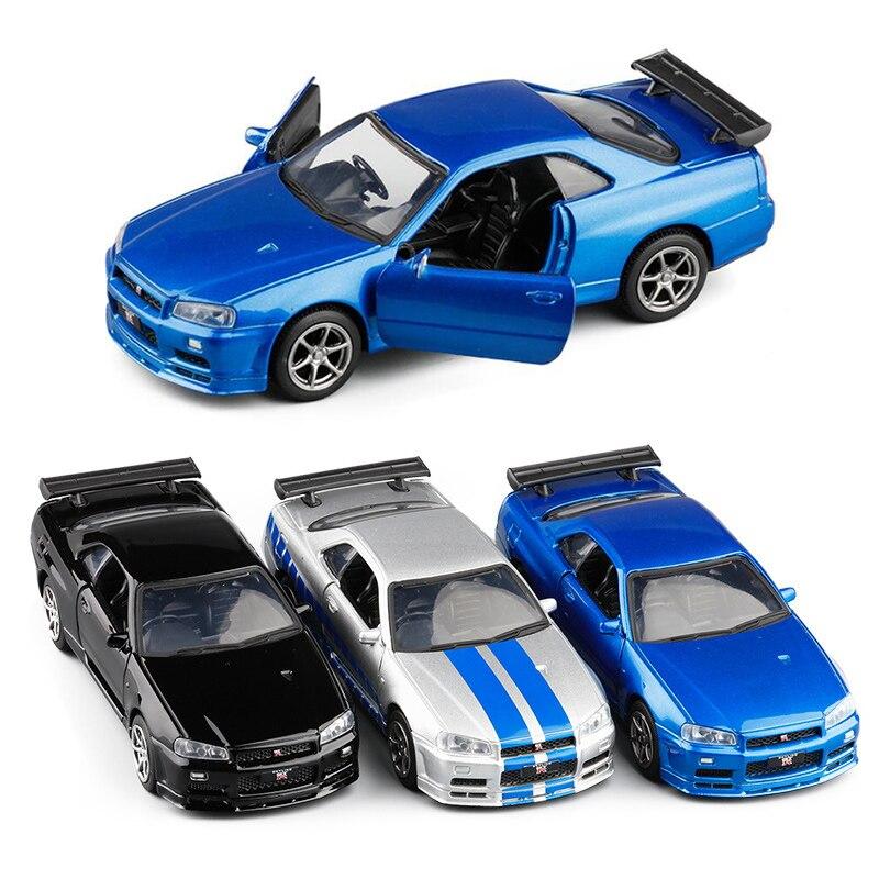 1:36 3 Colors High Simulation Diecast Model Car  Supercar Sport Scale Alloy Pull Back GTR R34 Cars Model Toys V236