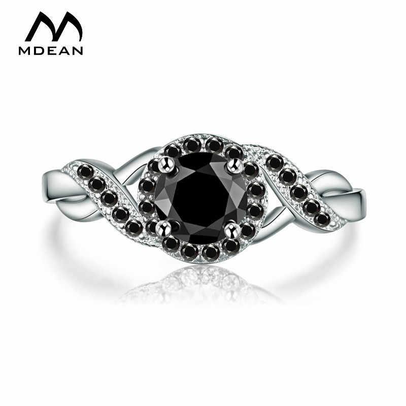 Mdean Emas Hitam Warna Pernikahan Cincin Pertunangan Fashion Hitam AAA untuk Wanita Zirkon Perhiasan Bijoux Karat Ukuran 6 7 8 9 10 H465