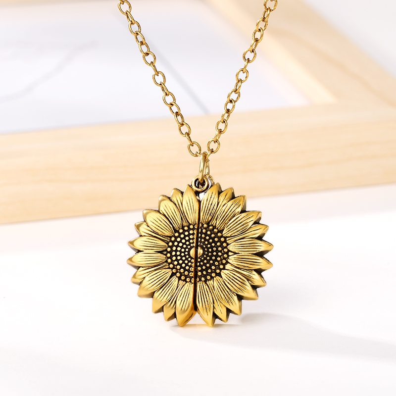Hb4bd9fe885a84341a4a694fd18a0e9808 - You Are My Sunshine Sunflower Necklaces For Women Rose Gold Silver Color Long Chain Sun Flower Pendant Necklace Fashion Jewelry