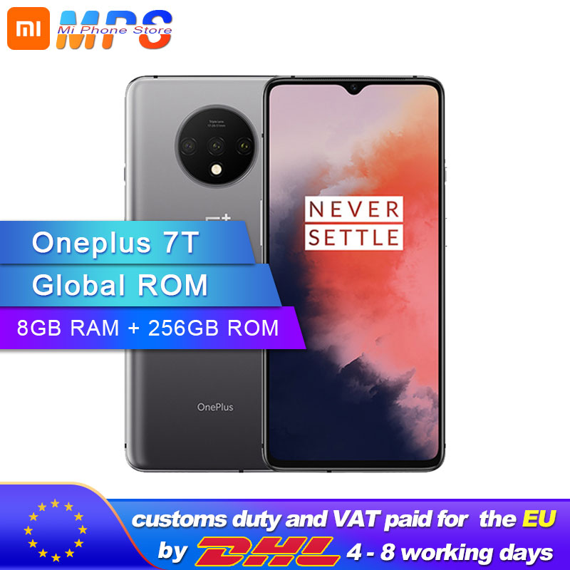 New Original Oneplus 7T 7 T Smartphone 8GB RAM 256GB ROM Snapdragon 855 Plus Android 10 6.55'' 90Hz Screen Octa Core 48MP Camera
