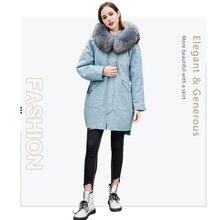 Winter 2019 fashion women coat real fur coat in Real Fur parka fur collar  rabbit liner jacket Women's winter parka fox collar цена 2017