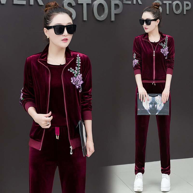 Gold Velvet WOMEN'S Suit Fashion 2019 New Style Spring And Autumn Sports Clothing Long Sleeve Large Size Casual Sweatshirt Three
