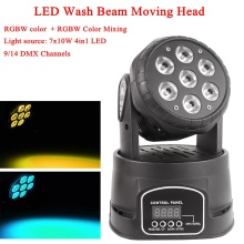 LED Mini Wash 7x10W RGBW 4IN1 Moving Head Light Wash Moving Head DJ Light DMX512 LED Christmas Sound Active Party Stage Lights