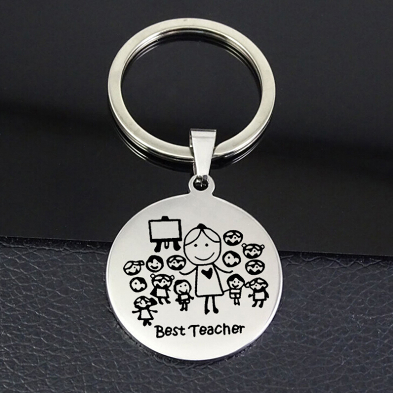 Stainless Steel Keychain Teacher Thanksgiving Gift Teacher'S Day Teacher Stainless Steel Jewelry Student Send Teacher Gift