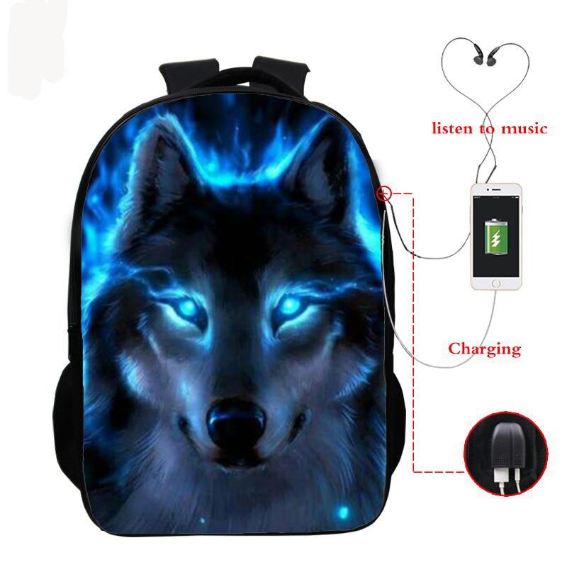 Wolf 3d Printed Backpack Boys Girls School Bag Teenager Usb Cable School Backpacks Women Men Bookbag College Student Schoolbag