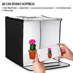 Image 5 - SAMTIAN صندوق إضاءة 40 سنتيمتر المحمولة سوفت بوكس استوديو الصور صندوق الضوء مع 3 ألوان خلفية للمجوهرات لعبة التصوير خيمة نوم