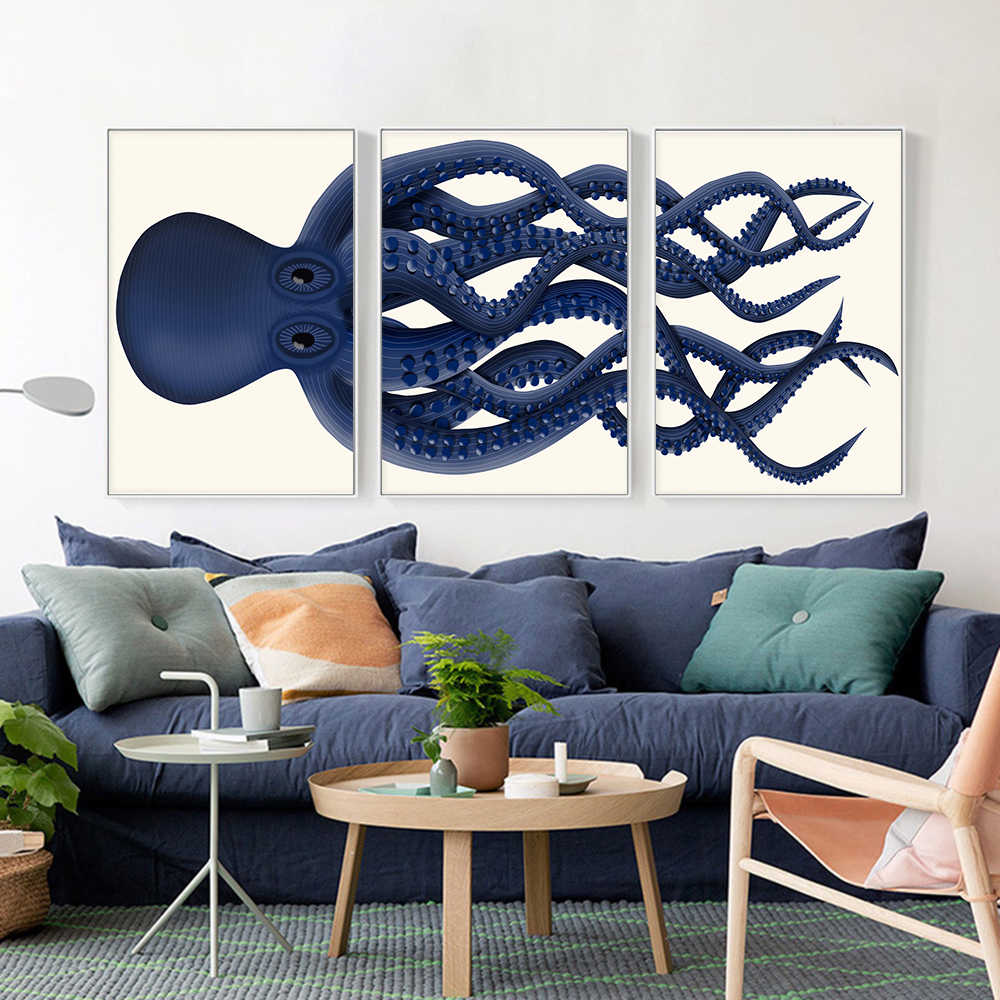 Abstract Cartoon Animal Picture Blue Giant Octopus Poster Wall Art Print Canvas Painting For Living Room Aesthetic Room Decor Aliexpress