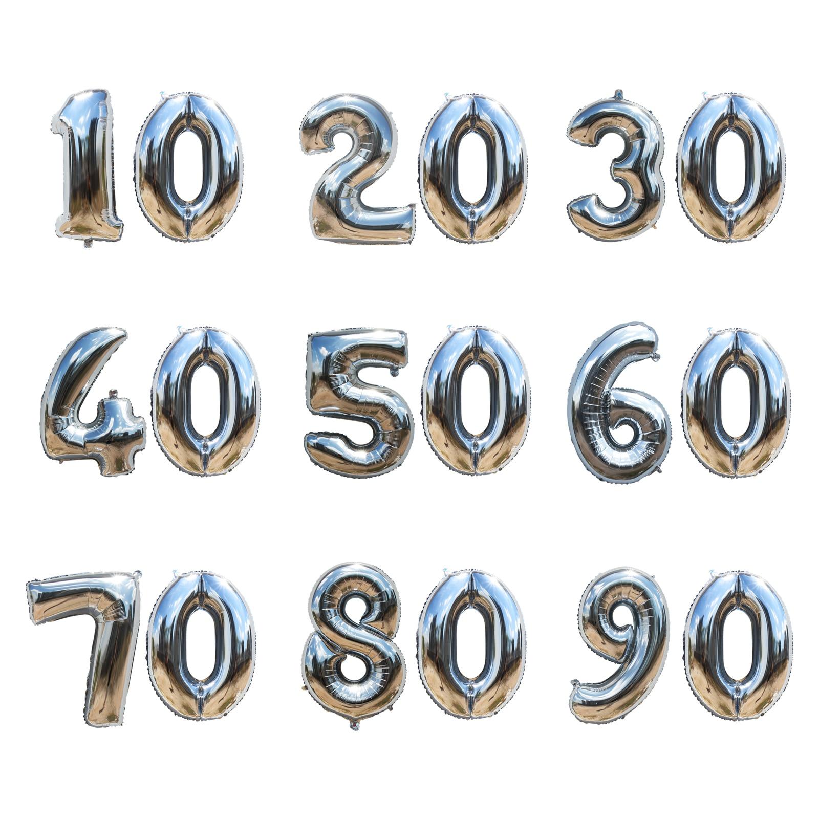 32 pouces or/argent nombre ballons en aluminium 10 20 30 40 50 60 70 80 90 ans anniversaire jour ballons fête bricolage décoration