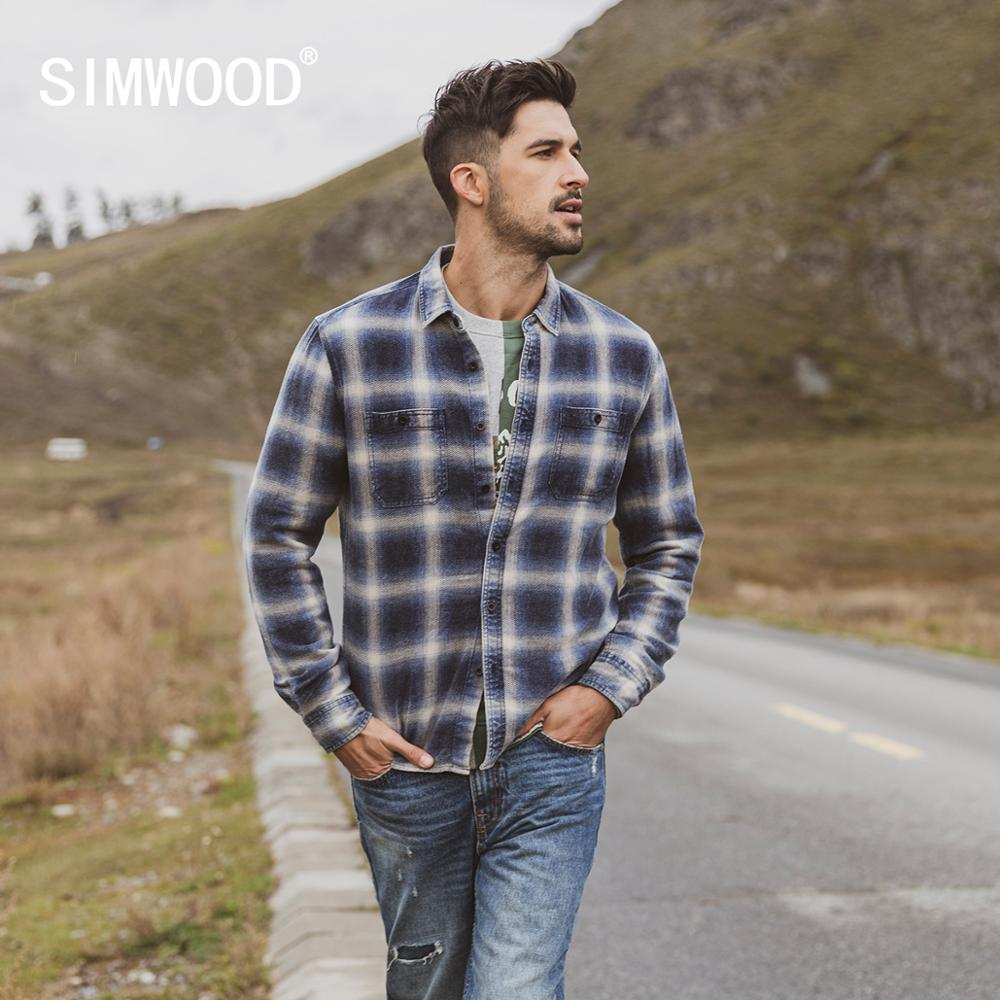 SIMWOOD 2019 Autumn Winter New Double Chest Pockets Plaid Shirts Men Indigo Shirt 100% Cotton Plus Size Clothes 190472