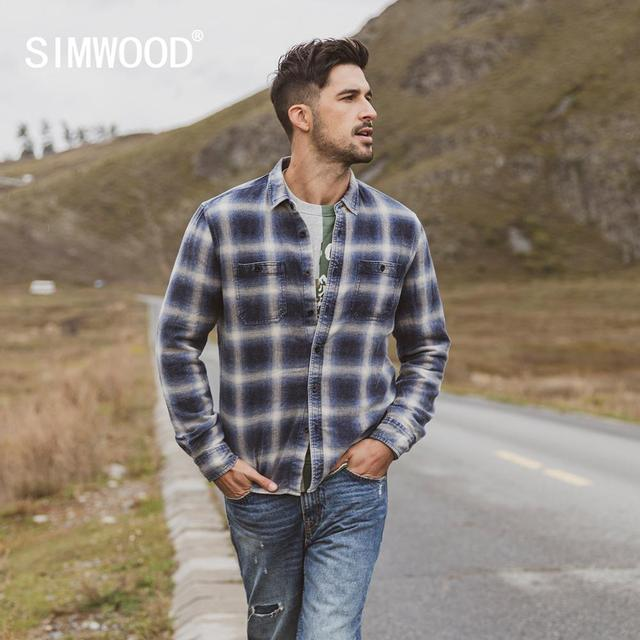 SIMWOOD 2020 spring Winter New Double Chest Pockets Plaid Shirts Men Indigo Shirt 100% Cotton Plus Size Clothes 190472