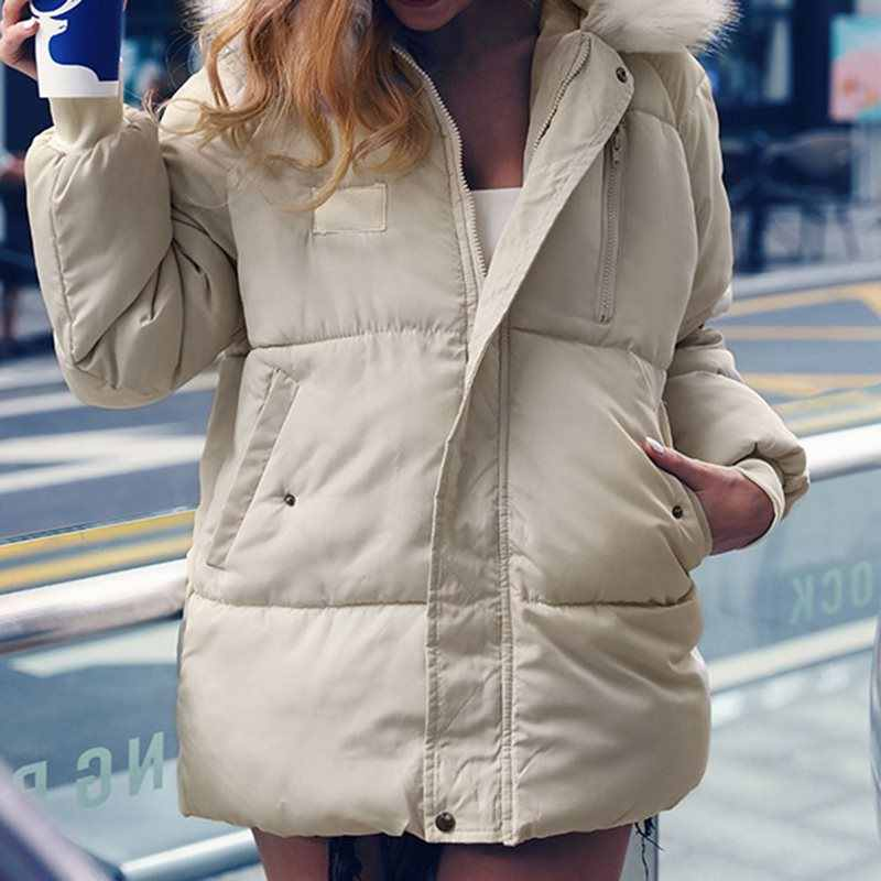 Меховая стеганая парка с капюшоном Женская куртка 2019 осенне-зимнее пальто с длинным рукавом на молнии теплая верхняя одежда ветровка женская одежда