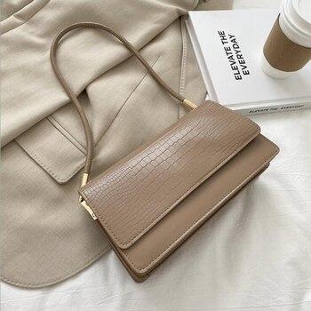 Alligator Pattern Baguette Bags for Women 2020 New Luxury Handbags Designer Shoulder Bag Fashion PU Leather Female Underarm Bag - Khaki, 24x13x8cm
