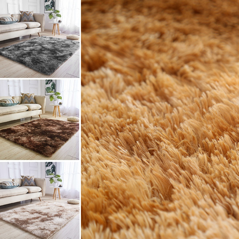 Polyester Fiber 160x90cm Fluffy Rugs Area Rug Warm Bedroom Mat Living Room Anti-Skid Shaggy Floor Home Sofa Decoration