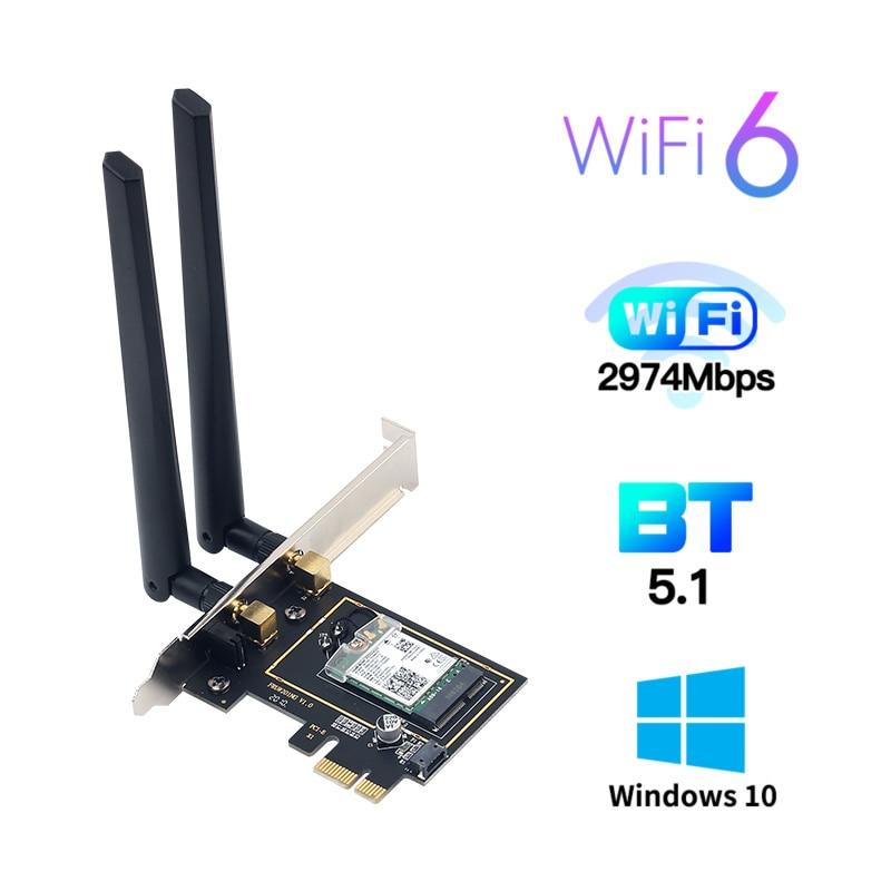 Беспроводной адаптер для Intel AX200, 3000 Мбит/с, 2,4/5 ГГц, Bluetooth 5,1, PCI Express 802.11AC/AX