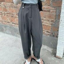 Hzirip quente mais tamanho femme chique de alta qualidade solto magro 2021 sólida streetwear senhora do escritório novas calças cintura alta harem