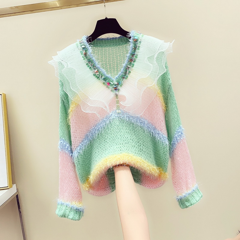 Fall Winter V Neck Sweater Women Stripe Coloured Sweater Loose Lazy Wind Sequins Lotus Leaf Doll-neck Knitted Shirt Pull Femme