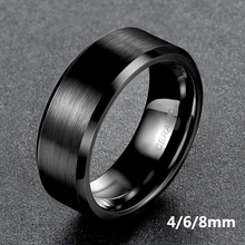 Somen Ring Men Black Ceramic Ring Brushed Love Wedding Band Engagement Rings Fashion Men Jewelry Gilft Bague Homme 8mm/6mm/4mm