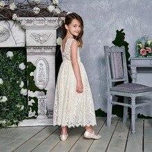 Vestido de princesa para niña, encaje blanco crema, sin mangas, vestido de fiesta, vestido de alta baja de playa, ropa de bebé E17125