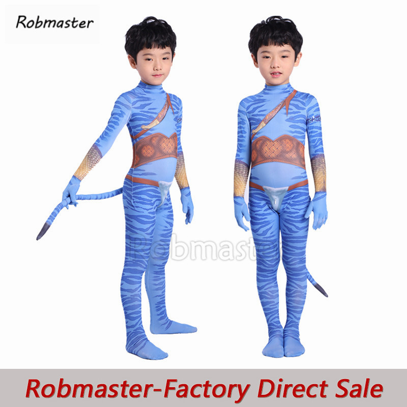 Avatar 2 Cosplay Costumes Kids Boys 3d Print Spandex Jake Sully Zentai Bodysuit Tail Suit Jumpsuit Halloween Party Costumes