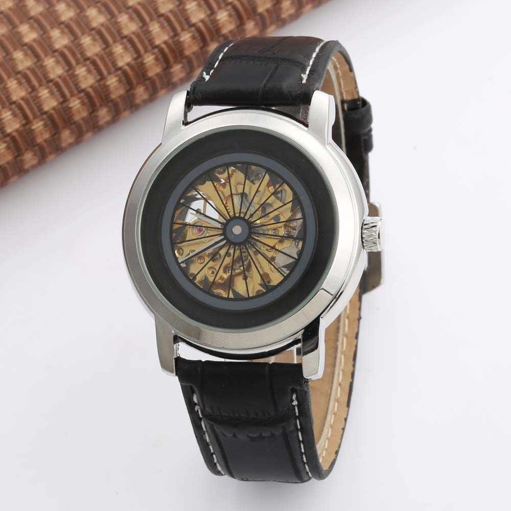 Goer Men กีฬานาฬิกาผู้ชาย Skeleton นาฬิกาอัตโนมัติ Mechanical นาฬิกาข้อมือหนัง Band นาฬิกานาฬิกา Relogio Masculino
