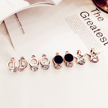 Titanium steel earrings female Korea personality Joker simple trend creative geometric round