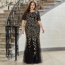 Robe Longue Elegante Mermaid O Collo Del Manicotto Del Bicchierino di Estate Maxi Vestito Aderente Più Il Formato del Vestito della Donna Del Partito di Notte Veste Femme abiti