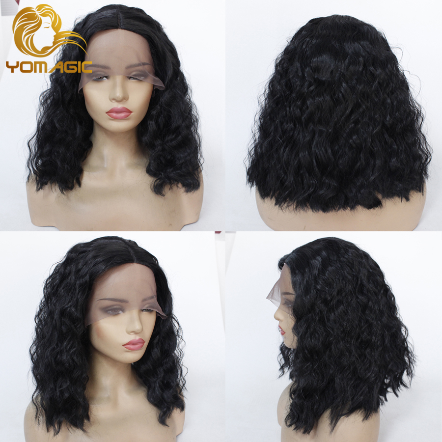 Yomagic Black Color Synthetic Hair Lace Front Wigs With Baby Hair Short Bob Wave Affordable Glueless Lace Wigs For Women