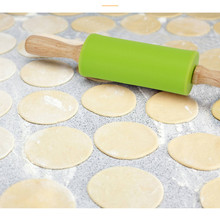 Non-Stick Wooden Handle Silicone Rolling Pin Fondant Pasta Cookie Dough Pastry Bakery Noodle Roller Kitchen Cooking Baking Tools 1pc 2size kitchen wooden rolling pin kitchen cooking bake tools accessories crafts bake fondant cake decoration dough roller