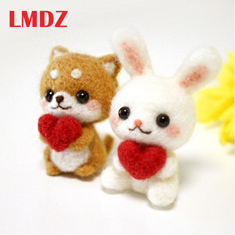 LMDZ 1Pcs Felting DIY Package Cute Pets Dog Rabbit Wool Felting Toy Doll Wool Felt Poked Kitting DIY Package Non-Finished