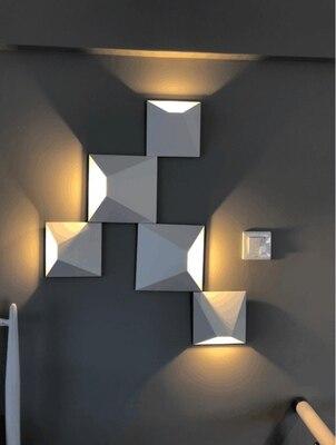 Hb4bf516d4ffb4935ba6505c38dda86bay - LED Modern Geometric Iron Acryl Black White DIY Magic Box LED Lamp LED Light Wall lamp Wall Light Wall Sconce For Store Bedroom