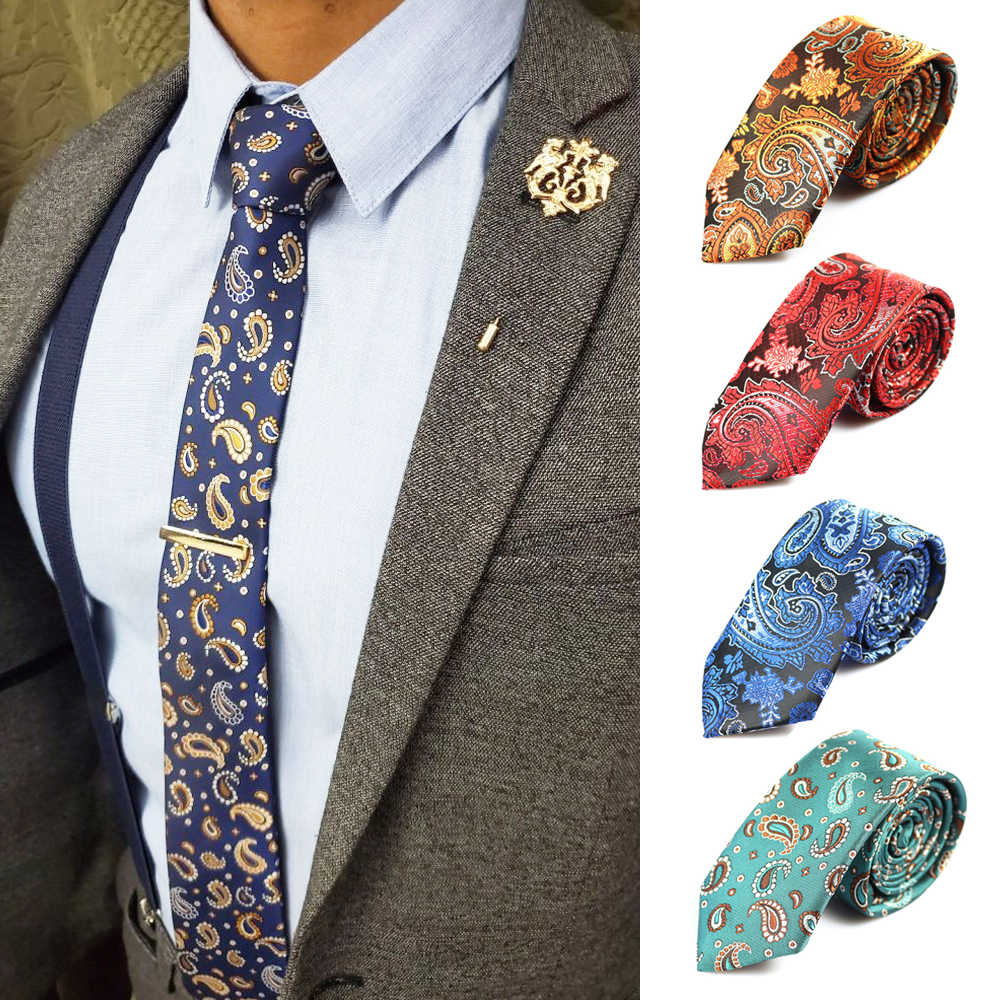 2017 Fashion Mens Ties Narrow Neckties 6cm Classic Paisley Tie for Men Formal Business Wedding Suit Neckwear Jacquard Woven Ties