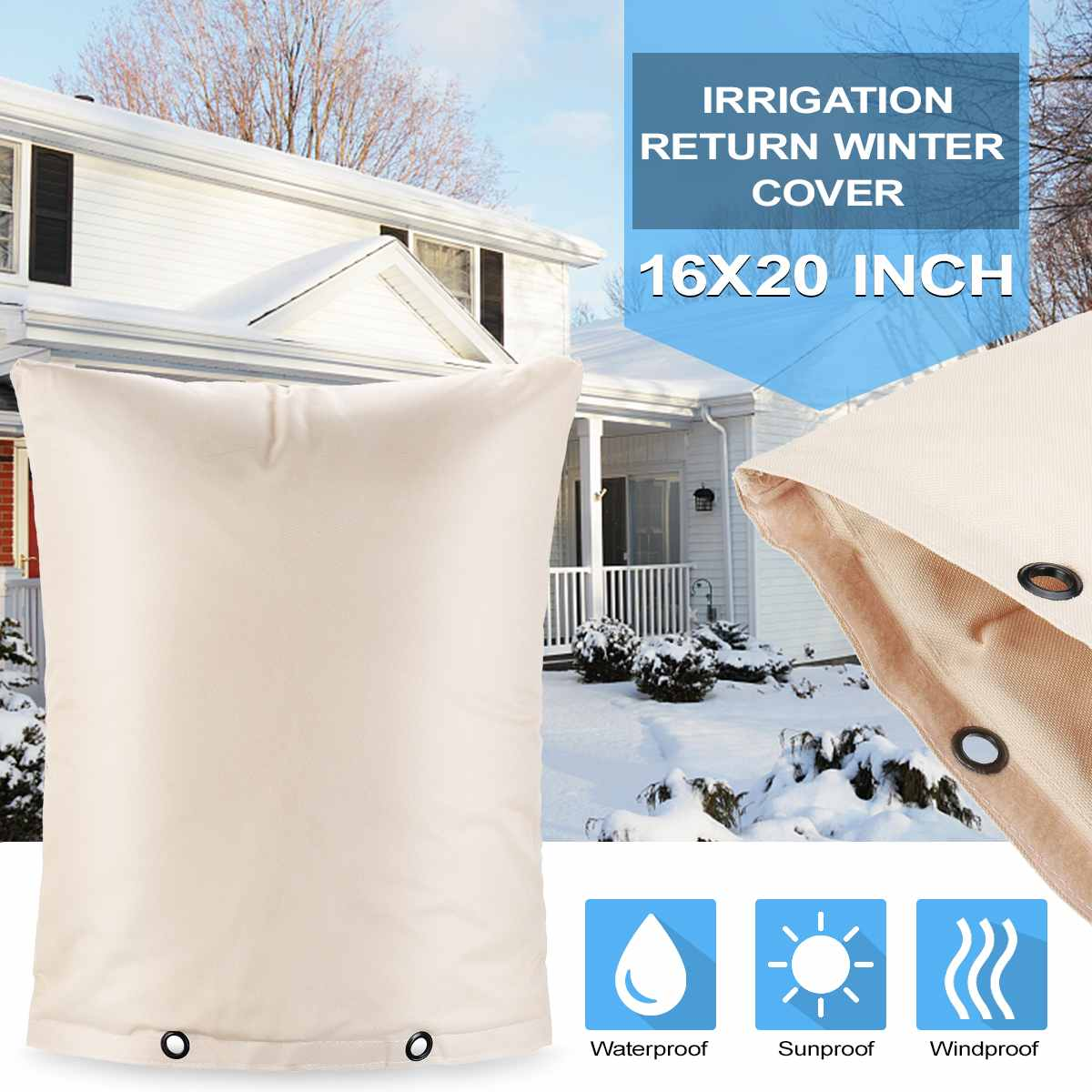 Outdoor Backflow Preventer Insulation Cover For Winter Pipe Freeze Protection Waterproof Pouch For Water Sprinkler Valve Box
