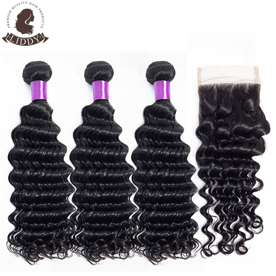 Liddy Deep Wave Bundles With Closure Peruvian Hair Bundles With Closure 100% Human Hair Natural Color Non-remy Hair Extensions