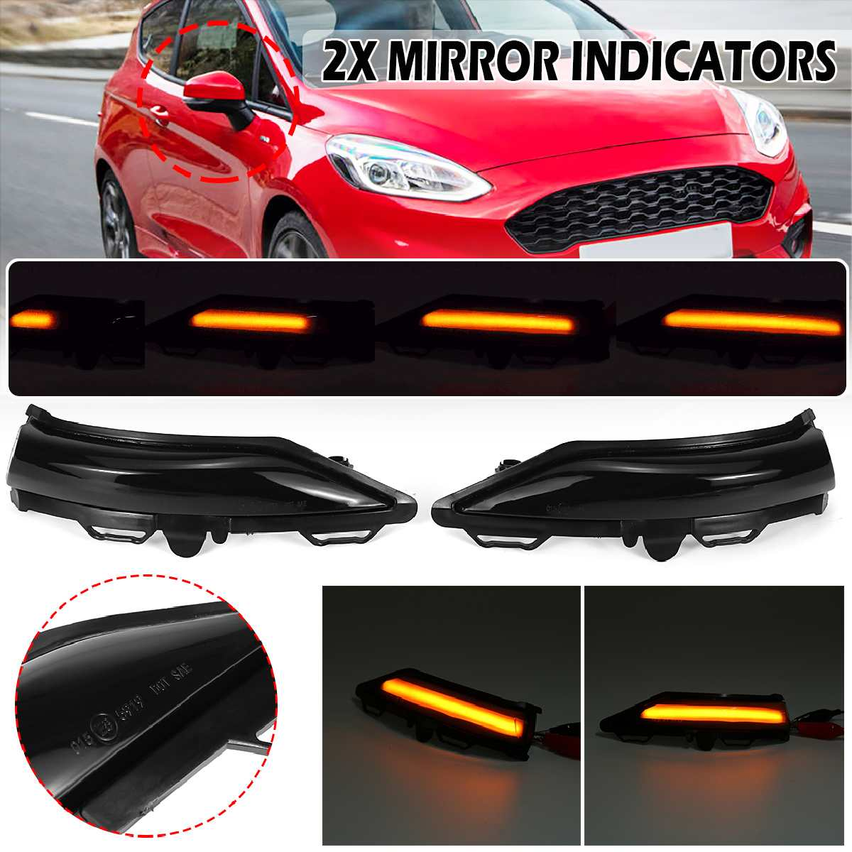 Pair LED Side Wing Rearview Mirror Dynamic Indicator Flowing Turn Signal Blinker Repeater Light For Ford For Fiesta MK8 19+