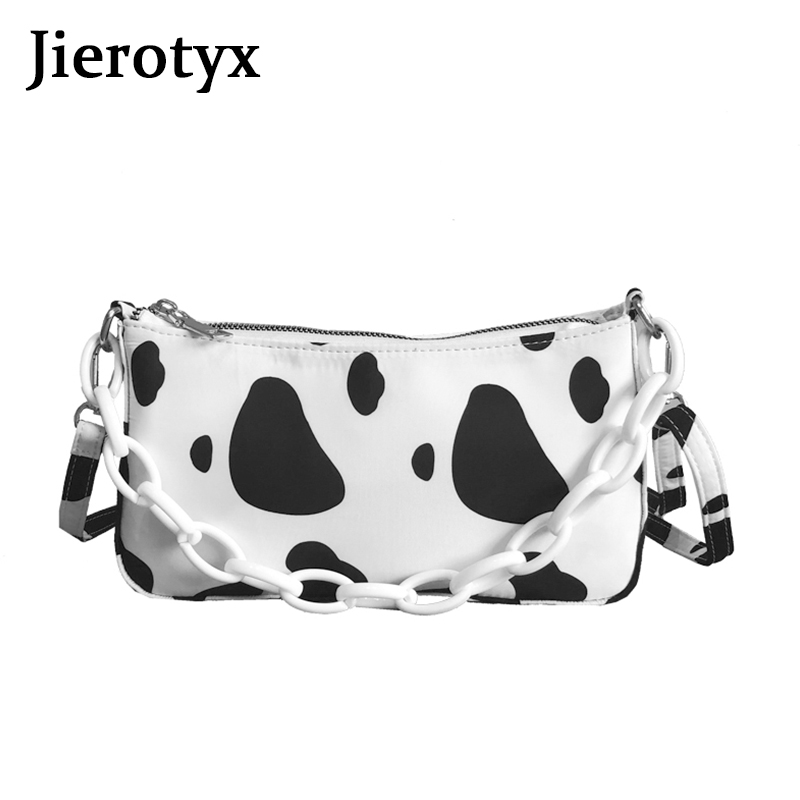 JIEROTYX Fashion Messenger Bag Hand Bags For Women Cow Pattern Print Metal Chain Leather Shoulder Bags Casual Crossbody Bags