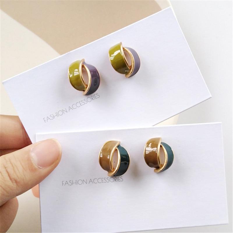 Fashion Geometry Stereo Stud Earring Classic Vintage Color Earrings Minimalist Style Personality Mini Stud Earrings For Women