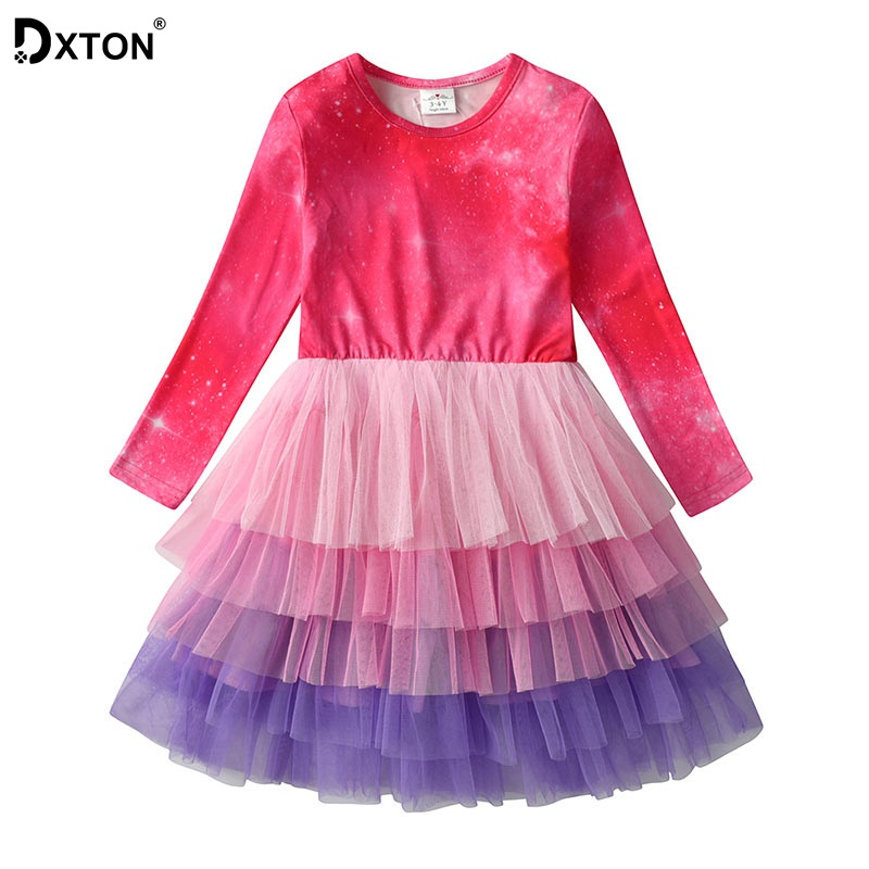 DXTON Trajes Meninas Vestido de Princesa Meninas Vestido de Inverno de Manga Comprida Patchwork Roupa Dos Miúdos 2019 Crianças Meninas Vestidos de Natal