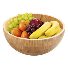 Japanese Style Round Wooden Bowl Soup Salad Noodle Rice Fruit Food Container Shock-proof Holder Children Bamboo Large Mask Bowl round white black ceramic salad bowl gold japanese style noodle container for soup rice bowl ceramica set kitchen tool tableware