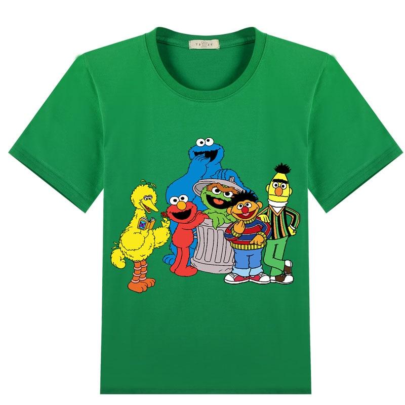 Elmo cookie bert pássaro grande menino/meninas 3-14 anos adolescentes crianças algodão topos t dos desenhos animados imprimir meninos t camisa verão infantil crianças