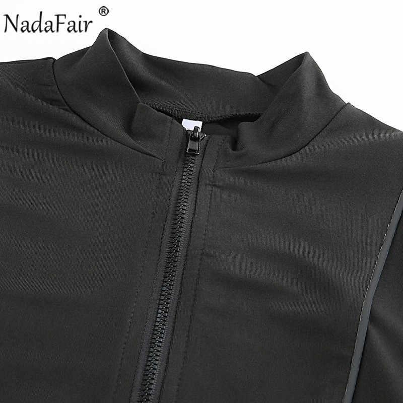 Nadafair/Черный боди с длинными рукавами для женщин; сезон осень-зима; облегающие пикантные топы на молнии; Femme