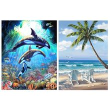 Dolphin Seagull 5D Full Drill Diamond Painting Kit Dotz Arts Set Supplies Adult Landscape Mountain Cabin Lake Wall Decor