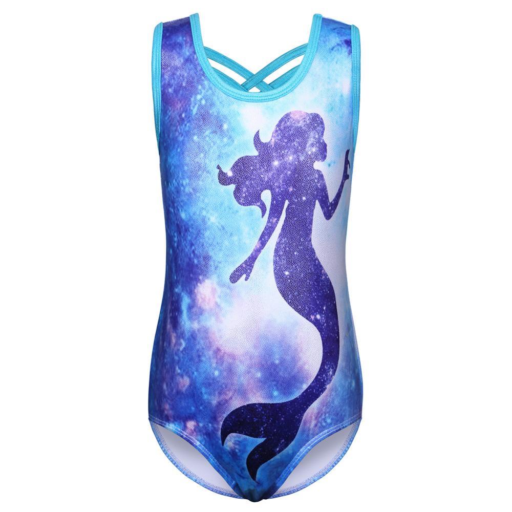 BAOHULU Girls Gymnastics Leotard Galaxy Human Fish Pattern Ballet Leotard Sleeveless Dance Wear Professional Sparkly Bodysuits