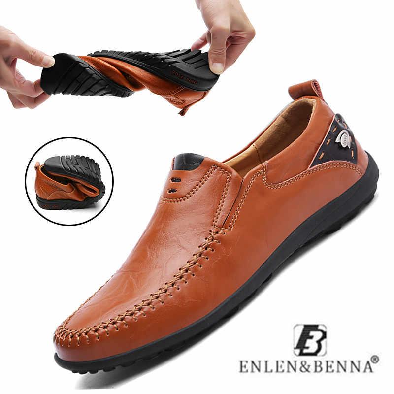 Yeni deri ayakkabı erkekler rahat Moccasins loafer'lar yetişkin erkekler için nefes yüksek kaliteli ayakkabı üzerinde kayma erkek Sneakers büyük boy 38-47