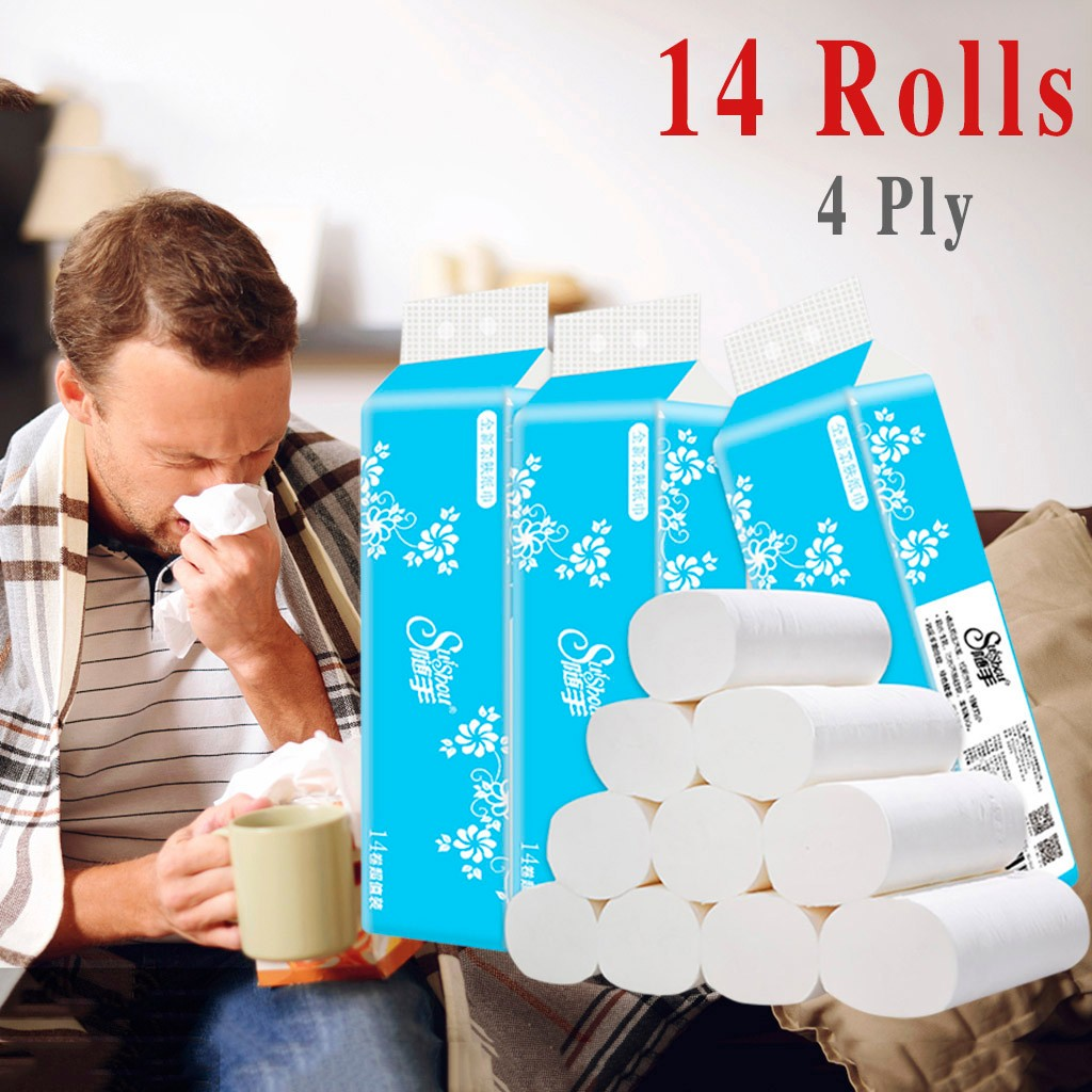 4 Ply 14 Rolls Toilet Paper Bulk Rolls Bath Tissue Paper Household Bathroom Soft Toilet Paper Tissue Bathroom Supplies Gift