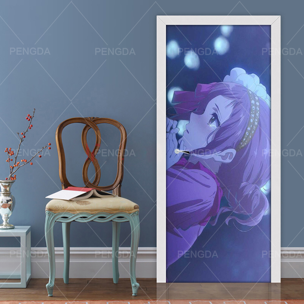 Home Decoration Paste Self Adhesive Anime Girl 3D Wall Sticker Print Art Color Bricks Pulling Door Waterproof Wallpaper Picture