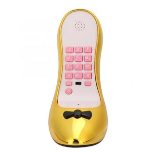 Fashionable High-Heeled Shoe Telephone Desktop Landline Phone Electroplate Gold