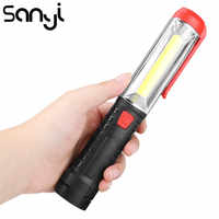SANYI-linterna LED COB, 3800LM, 1 modo de luz de trabajo, funciona con 3 pilas AA, portátil