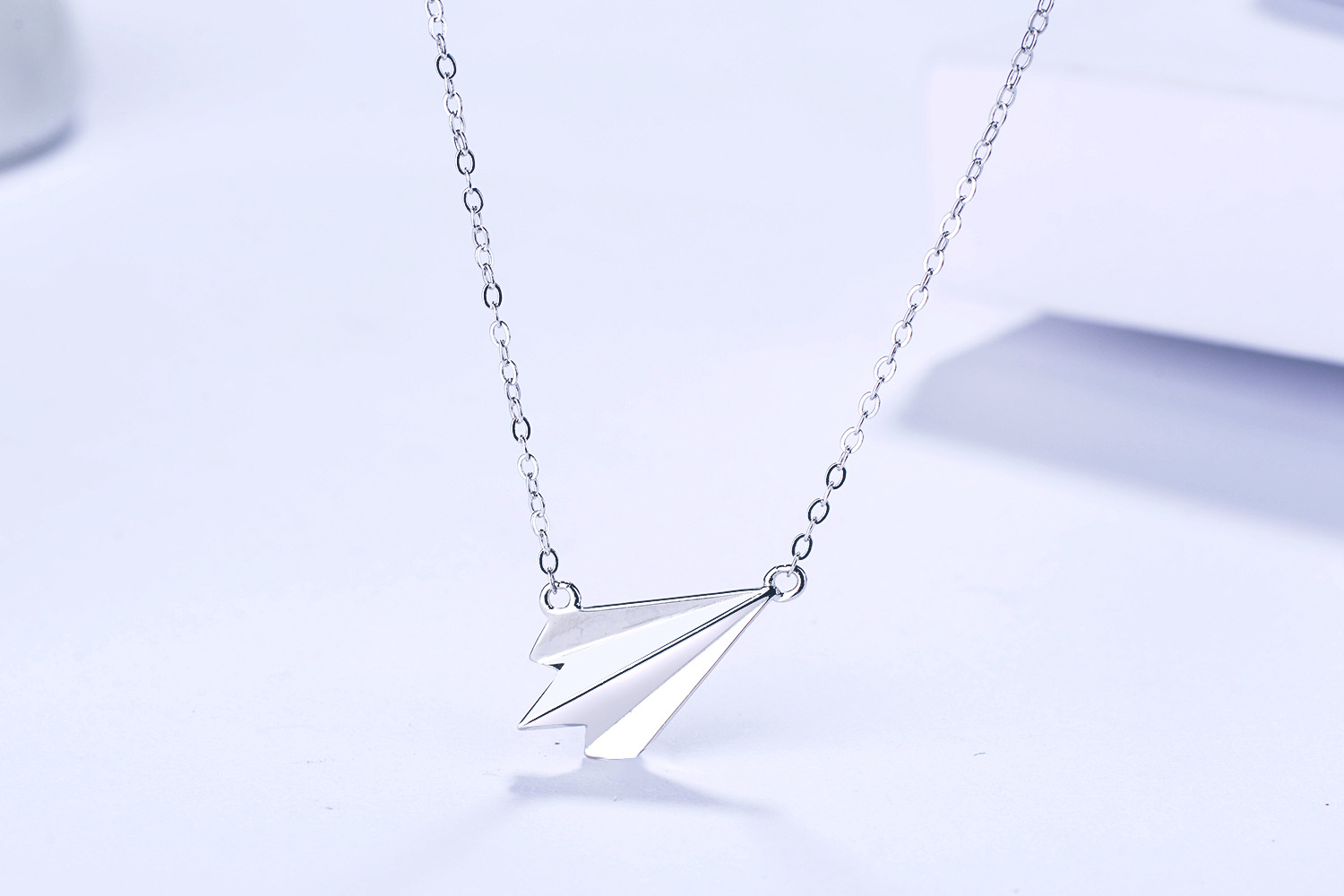 s925 sterling silver necklace cute mini childhood paper airplane pendant necklace Korean fashion S925 silver jewelry for Women image