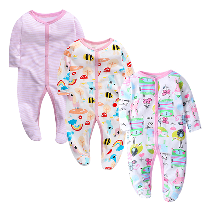 Image 4 - 3 pieces/lot Baby Rompers Newborn Baby Girls Boys Clothes 100% Cotton Long Sleeves Baby Pajamas Cartoon Printed Babys Setsbaby romper longbaby romperscotton baby romper -