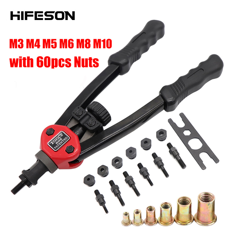 Hand Threaded Rivet Nuts Guns With 60 Pcs Nuts 605 Double Insert Manual Riveter Riveting Rivnut Tool For M3/M4/M5/M6/M8/M10 Nut